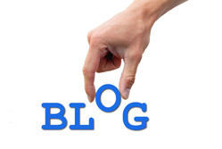 Hand picking up the o out of the word blog