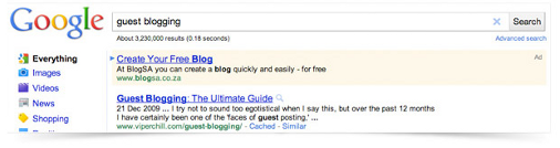 Google guest blogging search