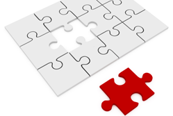 Exploiting gaps in the market - Red jigsaw piece