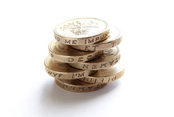 Marketing on a shoestring - A pile of pound coins