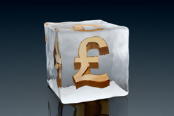 A pound sign in ice