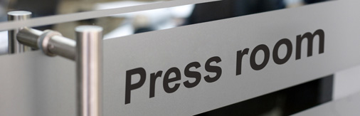 Media relations - Press room sign