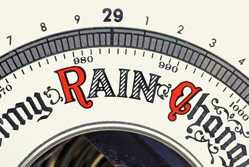 A barometer showing rain