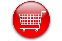 A red shopping trolley button
