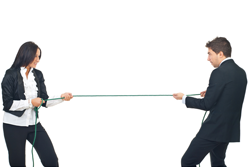 Sales and marketing - businesspeople in tug of war{{}}
