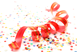 Confetti and ribbon