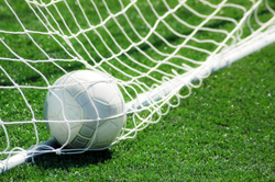 Football in a goal