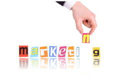 Marketing - hand moving coloured blocks