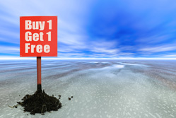 Buy 1 get 1 free sign