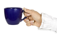 Hand holding cup of coffee