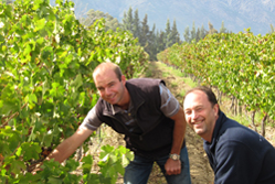 The founders of wine business Naked Wines in a vineyard