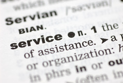 The word service in a dictionary