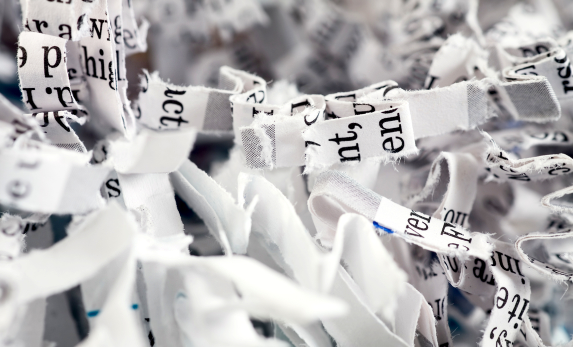 Shredded documents - data protection: your obligations.