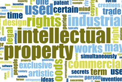 Word cloud made up of words related to intellectual property