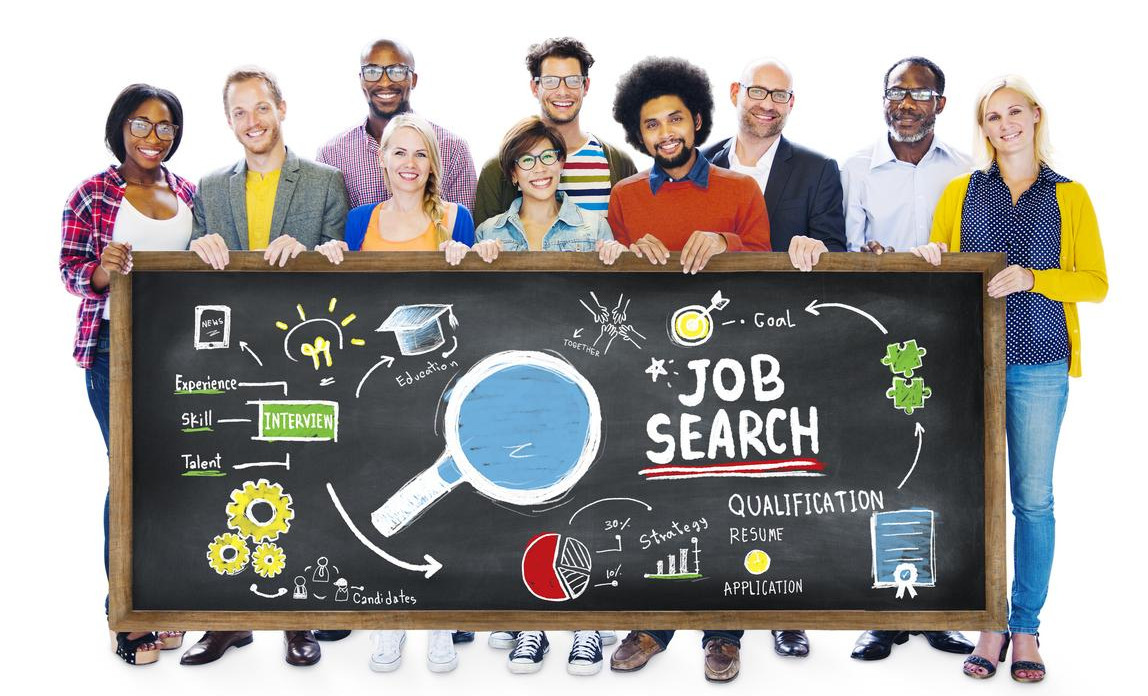 A group of recruitment consultants holding up a job search banner
