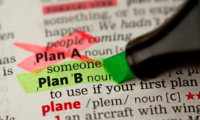 A dictionary page with Plan A and Plan B highlighted in different colours