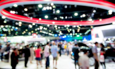 Blurred photo of a business exhibition