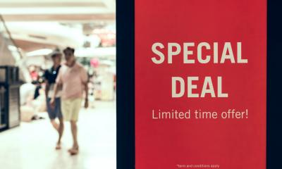 Special deal sign advertised in a shopping mall