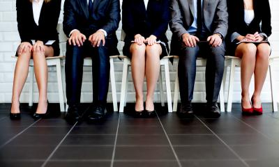 Line up of seated male and female business people visible from the neck down