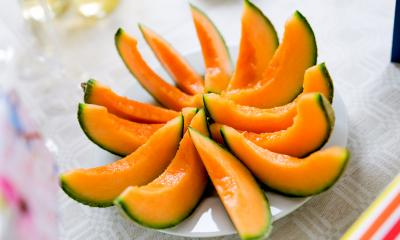 Orange melon cut into 12 segments