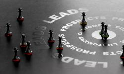 Chess pieces move towards the point of being a customer