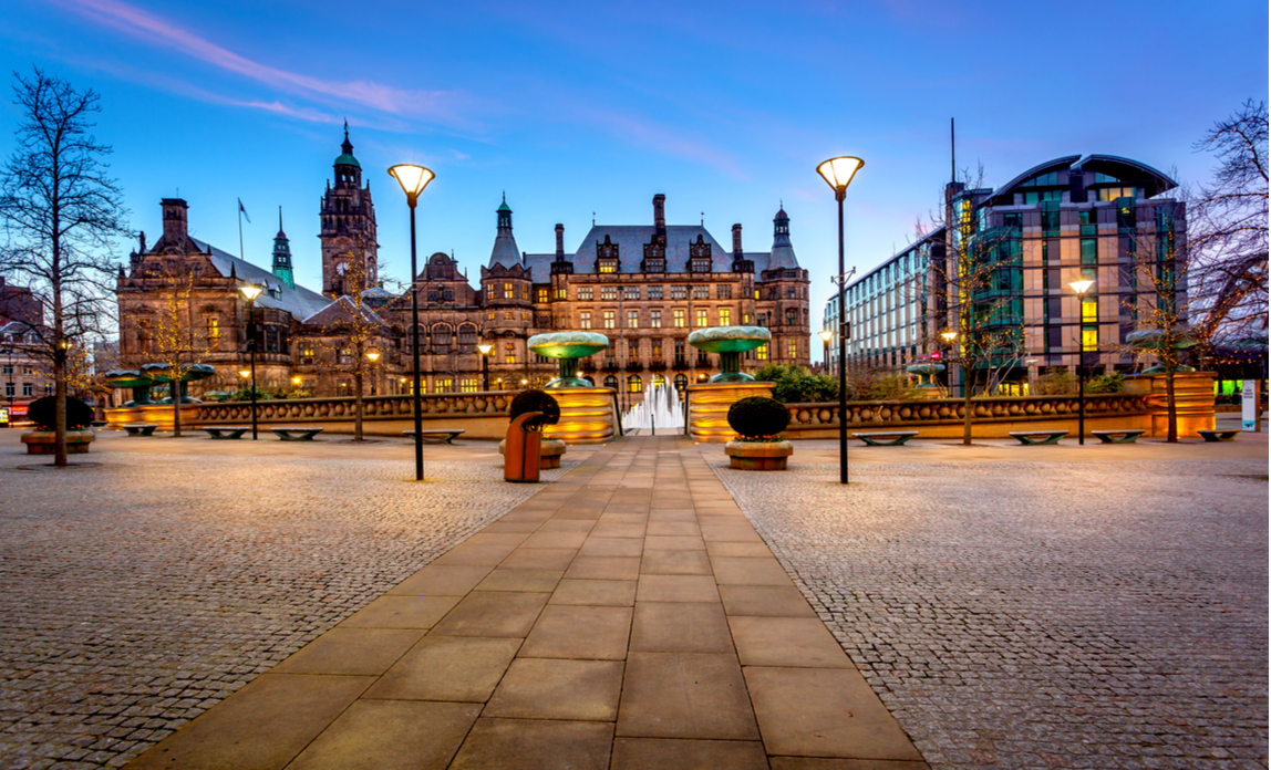 The road leading to Sheffield Town Hall