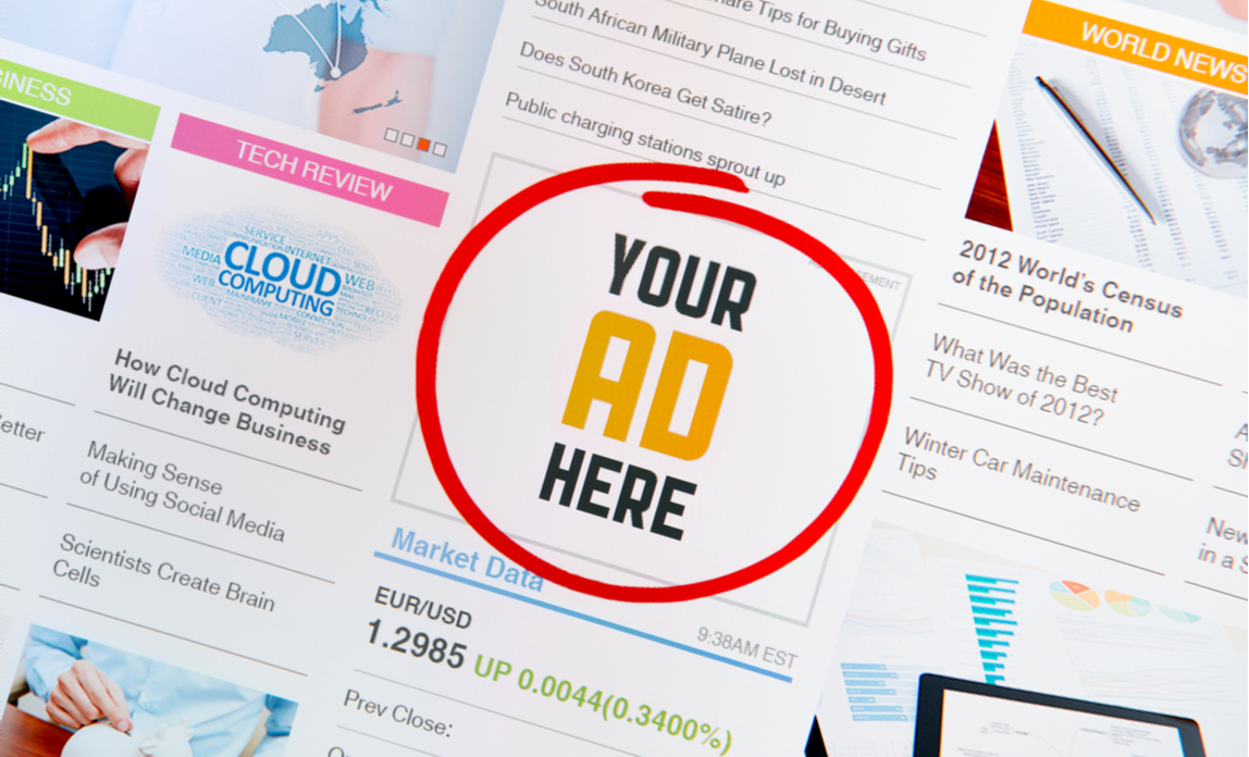 'Your ad here' showing on a web page